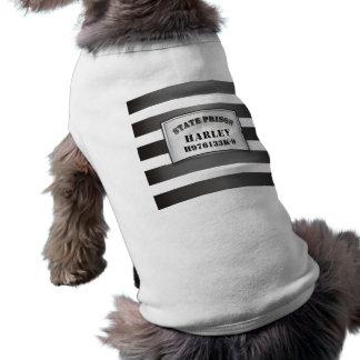 Harley - camiseta de la camiseta de la prisión del playera sin mangas para perro