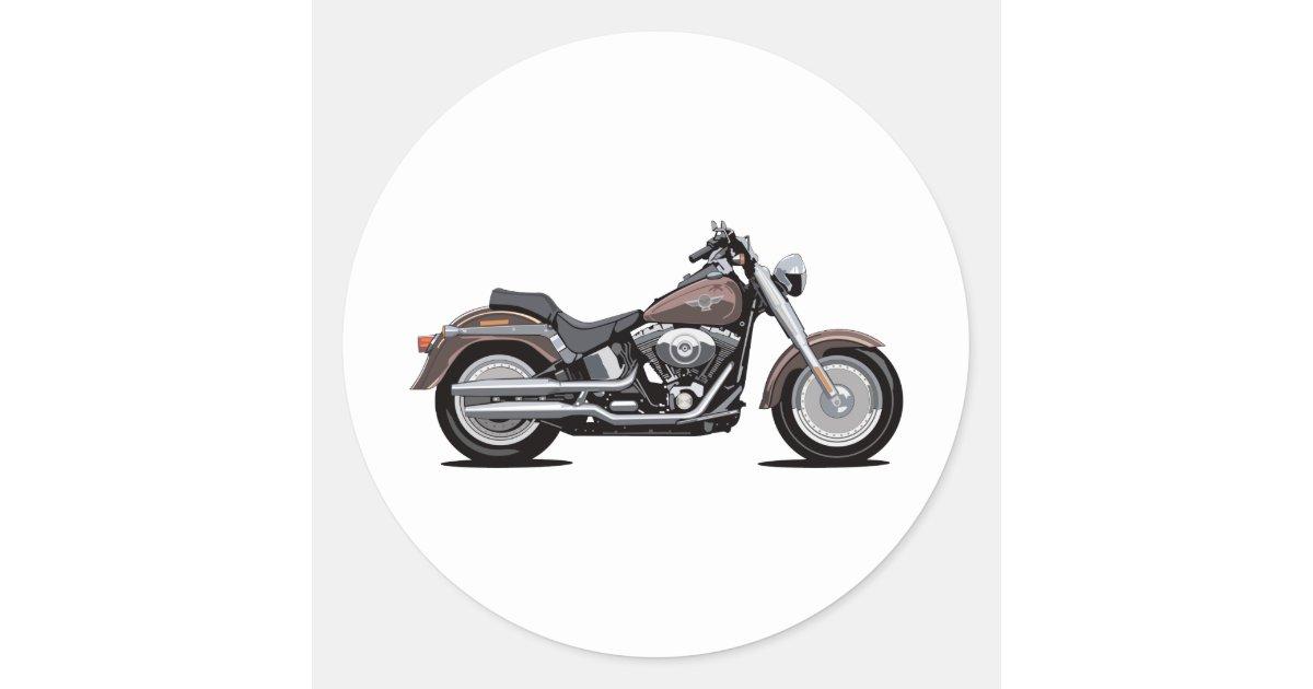 harley davidson fat boy classic round sticker