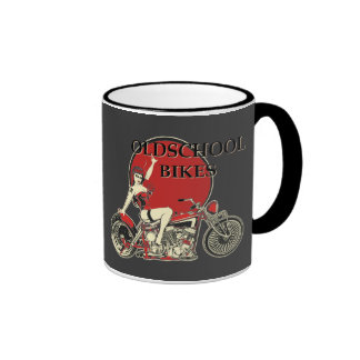 Harley Davidson - old School Bikes - Retro Ringer Mug
