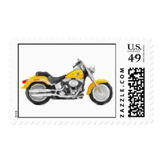 Harley FLSTC Fat Boy Hand Painted Art Brush Stamp