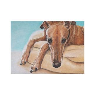 Harley Greyhound Dog Art Print Canvas Print