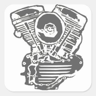 panhead stickers zazzle 1956 Harley- Davidson harley panhead engine drawing square sticker