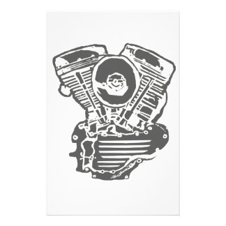 Harley Panhead Engine Drawing Stationery