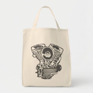 Harley Panhead Engine Drawing Tote Bag