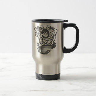 Harley Panhead Engine Drawing Travel Mug