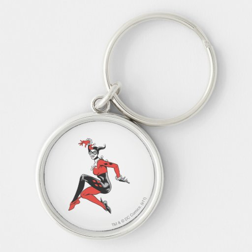 Harley Quinn 1 Silver-Colored Round Keychain