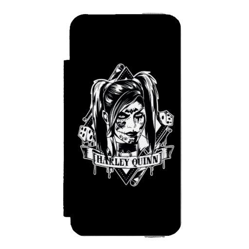 Harley Quinn Badge Wallet Case For iPhone SE/5/5s