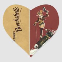 dc comics bombshells, harley quinn bombshell, bombshell, the joker harley, batman villian harley quinn, riding bomb shell, wartime poster, Sticker with custom graphic design