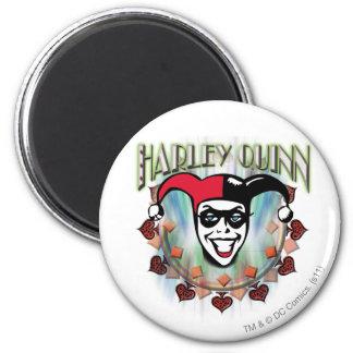 Harley Quinn - cara y logotipo Imán Redondo 5 Cm