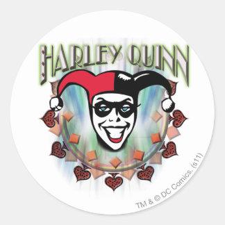 Harley Quinn - cara y logotipo Pegatina Redonda