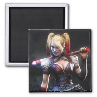 Harley Quinn con el palo Imán Cuadrado