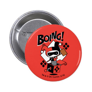 Harley-Quinn-En-UNO-Box de Chibi con el martillo Pin Redondo De 2 Pulgadas
