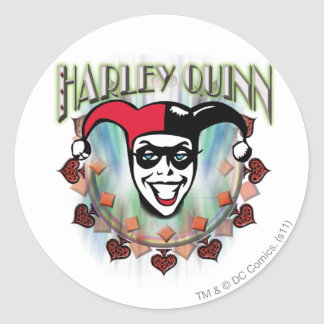 Harley Quinn - Face and Logo Classic Round Sticker