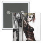 Harley Quinn Illustration 2 Inch Square Button