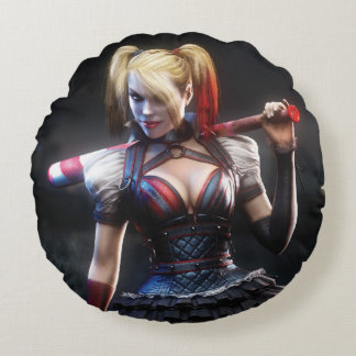 Harley Quinn With Bat Round Pillow