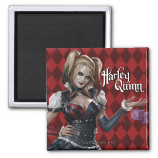Harley Quinn With Fuzzy Dice 2 Inch Square Magnet