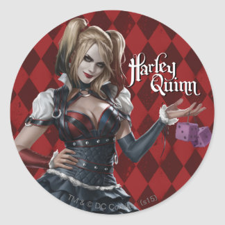 Harley Quinn With Fuzzy Dice Classic Round Sticker