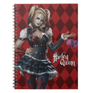Harley Quinn With Fuzzy Dice Spiral Notebook