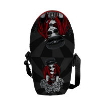 harley, tattoo, biker, angel, roses, glasses, gothic, fairy, fantasy, Rickshaw messenger bag with custom graphic design