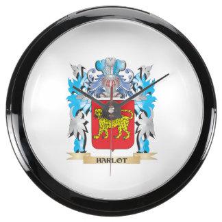 Harlot Coat of Arms - Family Crest Aqua Clocks