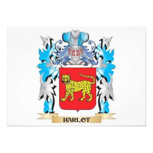 Harlot Coat of Arms - Family Crest Custom Invite