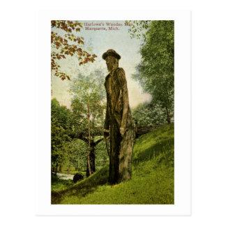 Harlow's Wooden Man Marquette, Michigan Postcard