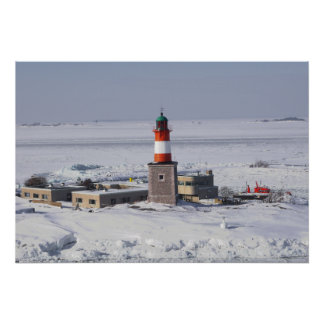 Harmaja Lighthouse In Ice Helsinki Finland Poster
