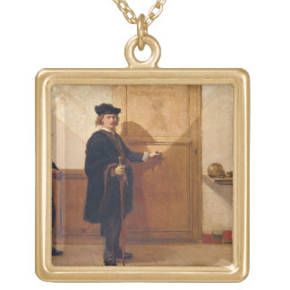 Harmensz van Rijn Rembrandt (1606-69) Knocking on Square Pendant Necklace