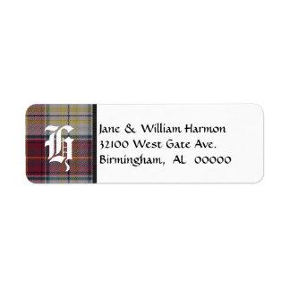 Harmon Dress Tartan Plaid Monogram Address Labels