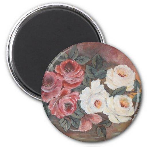 Harmonia de Rosas - óleo - 40x60 Imán Redondo 5 Cm