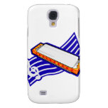 Harmonia , White with blue music staff behind Grap Samsung Galaxy S4 Covers
