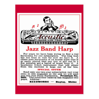 Harmonica Ad Postcard