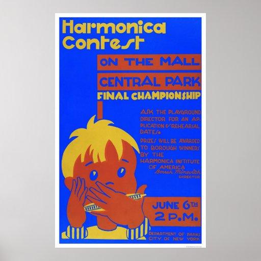 Harmonica Central Park 1937 WPA Print