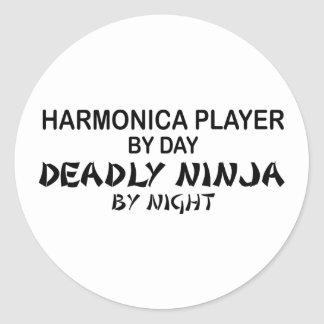 Harmonica Deadly Ninja by Night Round Stickers