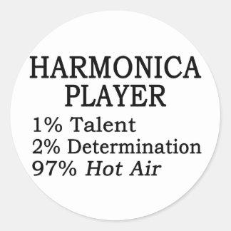 Harmonica Player Hot Air Classic Round Sticker