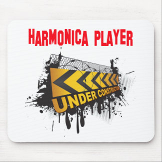 harmonica player under construction mouse pad