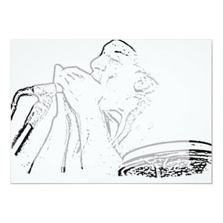 Harmonica Player with drum outline 5x7 Paper Invitation Card