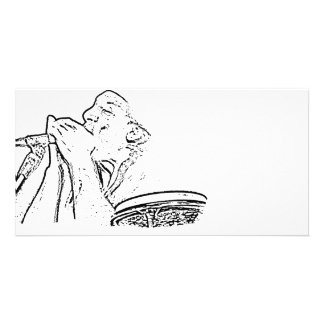 Harmonica Player with drum outline Photo Card