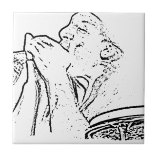 Harmonica Player with drum outline Small Square Tile