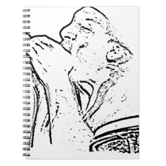 Harmonica Player with drum outline Spiral Notebook