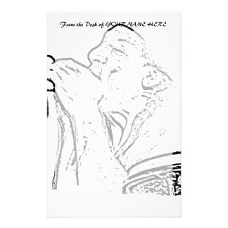 Harmonica Player with drum outline Stationery