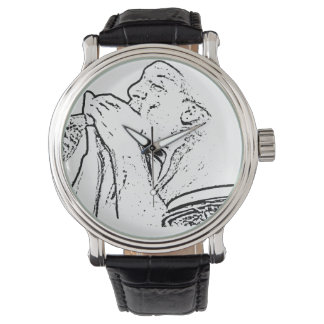 Harmonica Player with drum outline Wrist Watch