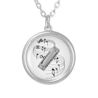 Harmonica Round Pendant Necklace