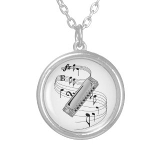 Harmonica Silver Plated Necklace