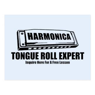 Harmonica Tongue Roll Postcard