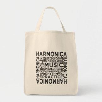 Harmonica Typography Tote Bag