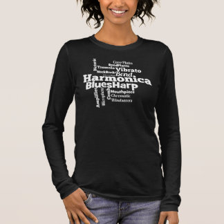 Harmonica Word Cloud Long Sleeve T-Shirt
