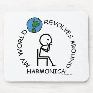 Harmonica- World Revolves Around Mouse Pad