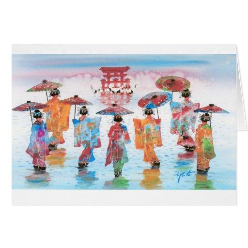 HARMONIOUS MOTION, JAPANESE GEISHA GREETING CARDS