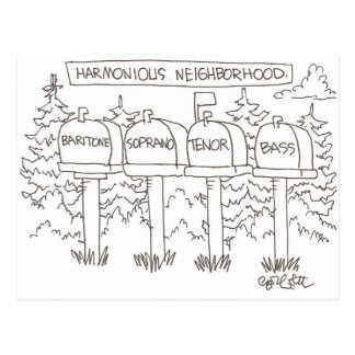 Harmonious neighborhood:: 'Baritone, Soprano, Postcard